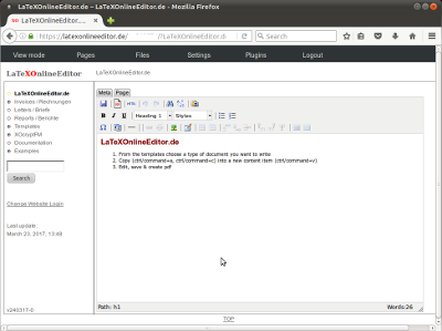 Screenshot of LaTeXOnlineEditor